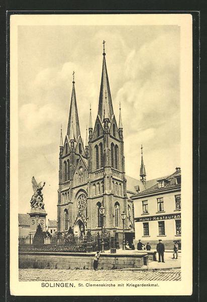 AK Solingen, St. Clemenskirche mit Kriegerdenkmal