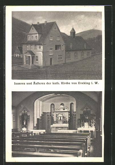 AK Eveking, Inneres und Äusseres der kath. Kirche
