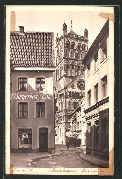 AK Neuss, Krämerstrasse mit Münsterkirche