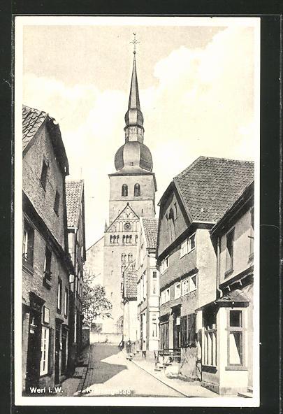 AK Werl, Krämergasse mit Kirche