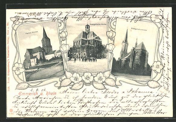 AK Emmerich, Blick auf Martini Kirche, Evangelische Kirche und Aldegundis Kirche