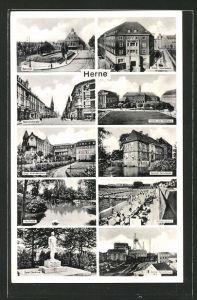 AK Herne, Blick auf Bahnhofstrasse, Schloss Strünkede, Schwimmbad, Zeche Schamrock und Saar-Denkmal