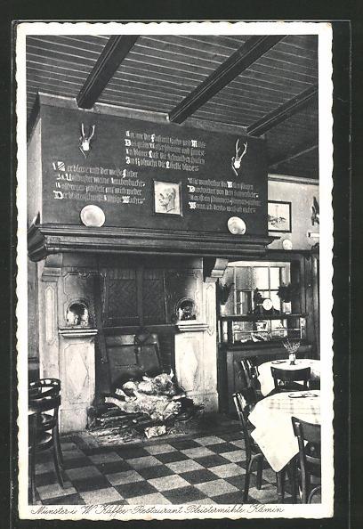 AK Münster, Café-Restaurant Pleistermühle, Gastraum mit Kamin