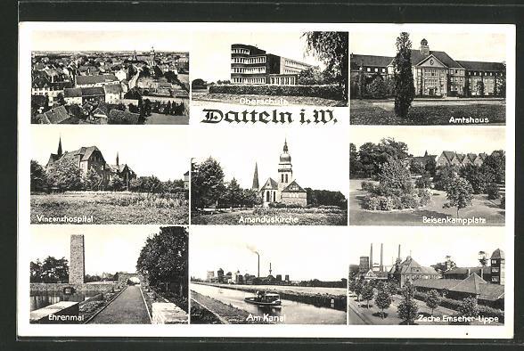 AK Datteln i. W., Vincenzhospital, Zeche Emscher-Lippe, Beisenkampplatz, Oberschule