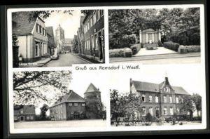 AK Ramsdorf i. Westf., Lange Strasse, Burg - Rathaus, St. Walburgis-Krankenhaus