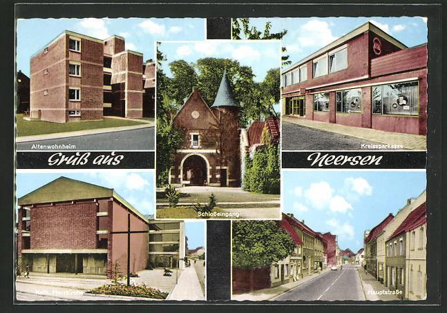 AK Neersen, Altenwohnheim, Kreissparkasse, Kath. Pfarrkirche, Hauptstrasse