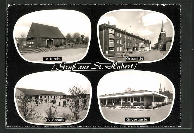 AK St. Hubert, Ev. Kirche, Ortsmitte, Ev. Schule, Kindergarten