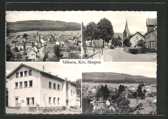 AK Müsen / Siegen, Ortsansichten, Strassenpartie mit Kirche, Postamt