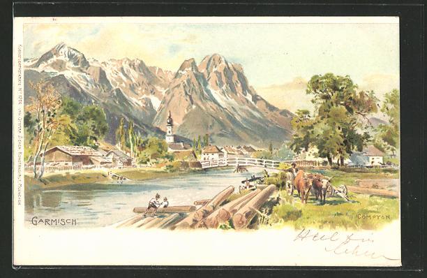 Künstler-AK Edward Theodore Compton: Garmisch, Panoramablick auf die Ortschaft