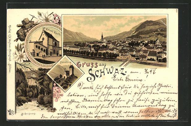 Lithographie Schwaz, Michaels-Kapelle, Freundsberg, St. Georgenberg