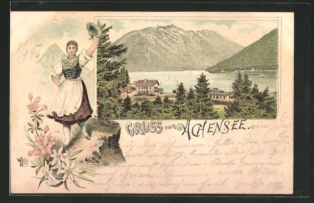 Lithographie Seespitz am Achensee, Teilansicht vom Dorf, Blick auf den See
