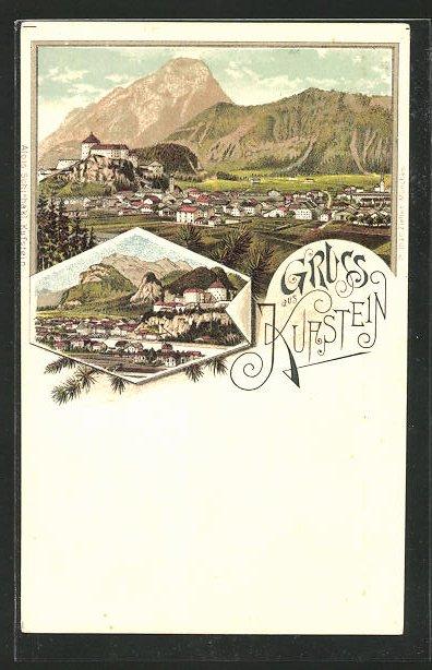 Lithographie Kufstein, Totalansicht mit Alpenpanorama
