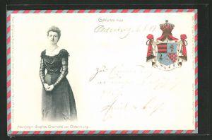 Präge-AK Herzogin Sophie Charlotte von Oldenburg, Wappen derer von Oldenburg