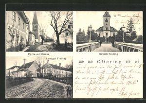 AK Oftering, Landgut Freiling, Strassenpartie mit Kirche