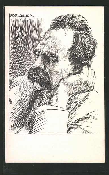 Künstler-AK Portrait des Philosophen Friedrich Nietzsche, Original von Karl Bauer