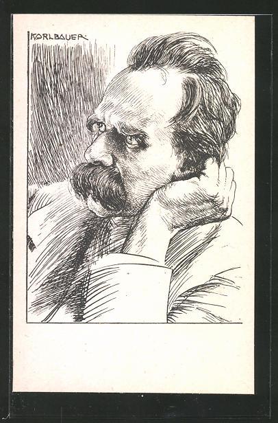 Künstler-AK Portrait des Philosophen Friedrich Nietzsche, Original-Zeichnung von Karl Bauer