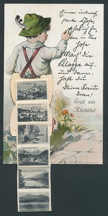 Leporello-AK Kitzbühel, Bursche mit Klappe in der Lederhose, Hauptstrasse, Ortsansicht gegen Süden