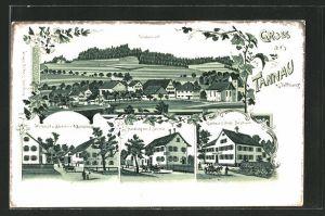 Lithographie Tannau, Gasthaus z. Stiefel Jos. Strauss Wirtschaft & Bäckerei v. A. Büchelmeier, Handlung v. J. Schmid