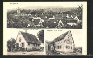 AK Stebbach, Handlung von K. Horn, Gatshaus zum Rössle, Ortsansicht aus der Vogelschau