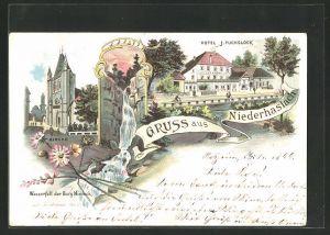AK Niederhaslach, Hotel J. Fuchsloch, Wasserfall der Burg Niedeck, Kirche