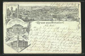 Lithographie Ronsdorf, Rath-Haus, Kaiser-Krieger-Denkmal, Gesamtansicht, Post