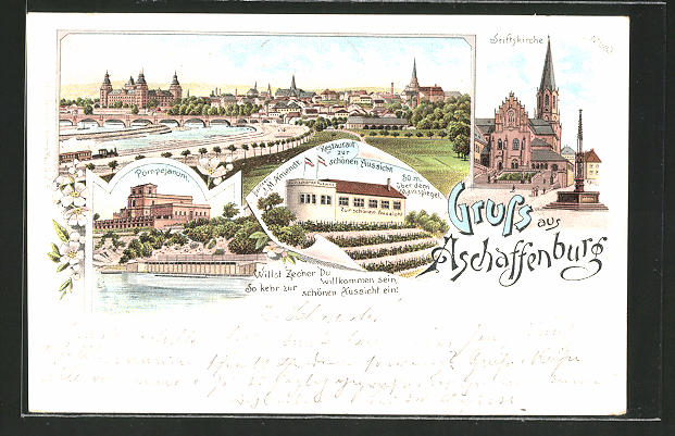 Lithographie Aschaffenburg, Ortsansicht, Restaurant zur schönen Aussicht, Pompejanum und Stiftskirche