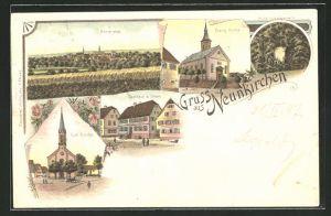 Lithographie Neunkirchen, Ortsansicht, Gasthaus zum Löwen, Prinz Ludwigstein, evang. und kath. Kirche