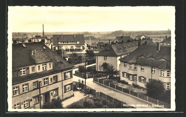 AK Wülknitz, Bahnhof-Siedlung aus der Vogelschau