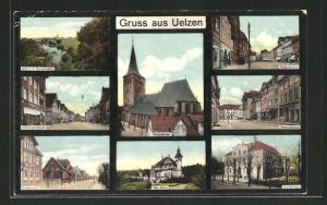 AK Uelzen, Blick v. d. Aussenmühle, Lüneburgerstrasse, Hoeftstrasse, Villa Pistor, Marienkirche, Krankenhaus, Veerserstrasse