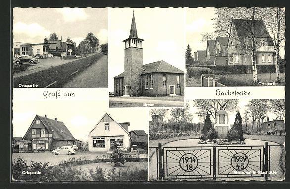 AK Harksheide, Ortspartien, Kirche, Ehrenmal in Glashütte