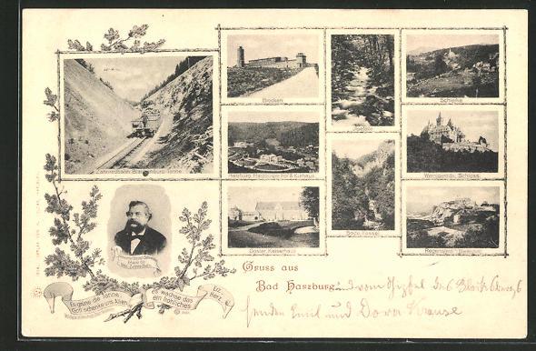 AK Bad Harzburg, Brocken, Ilsefälle, Schierke, Goslar-Kaiserhaus, Bode-Kessel, Wernigerode-Schloss