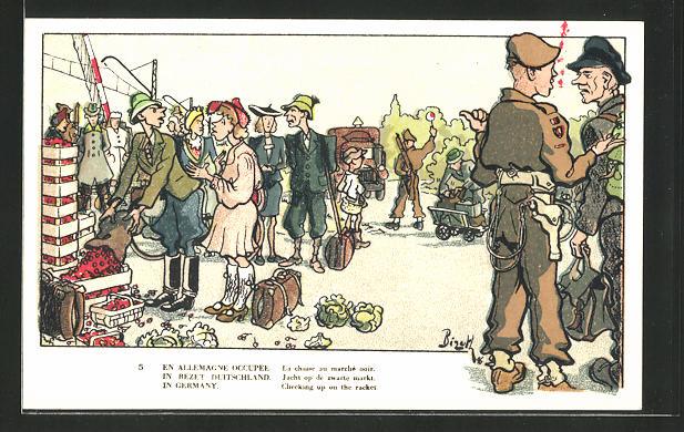 Künstler-AK Belgische Soldaten auf einem Schwarzmarkt im besetzten Deutschland