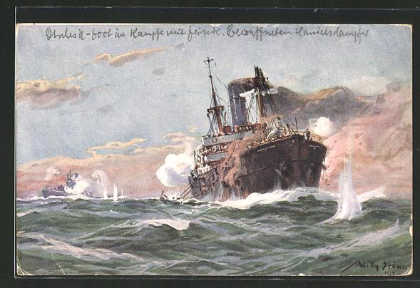 Künstler-AK Willy Stoewer: U-Boot-Spende 1917, Deutsches U-Boot im Gefecht mit bewaffnetem Handelsdampfer