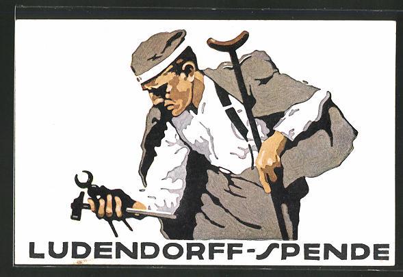 Künstler-AK Ludwig Hohlwein: Ludendorff-Spende für Kriegsbeschädigte