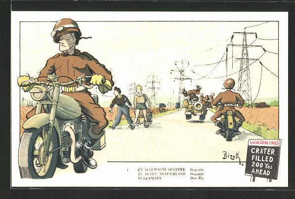 Künstler-AK Belgische Soldaten auf Motorrädern im bestetzten Deutschland