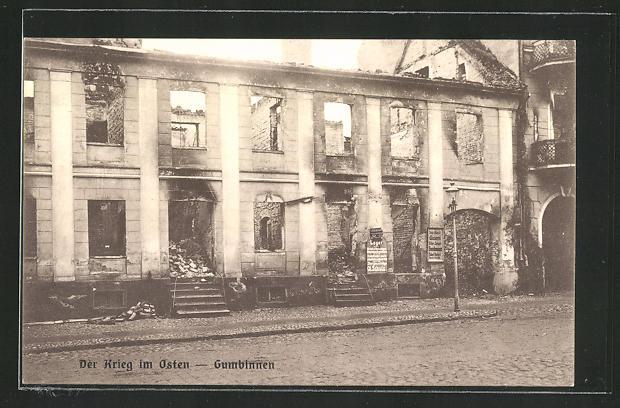 AK Gumbinnen, Ausgebranntes Haus