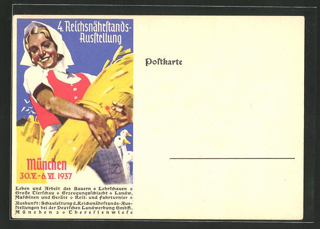 Künstler-AK Ludwig Hohlwein: München, 4. Reichsnährstands-Ausstellung 1937, Bäuerin mit Weizen