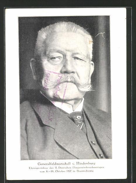 AK Portrait Generalfeldmarschall Paul von Hindenburg, Ganzsache PP92 C1