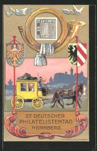 Künstler-AK Nürnberg, 27. Deutscher Philatelisten-Tag 1921, Postkutsche, Ganzsache