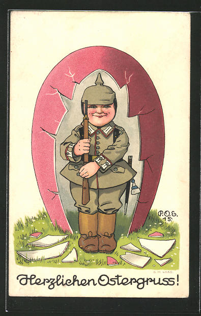 Künstler-AK P. O. Engelhard (P.O.E.): Herzlicher Ostergruss, Kleiner Wachsoldat im Osterei als Wachthäuschen
