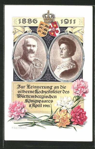 Künstler-AK Silberne Hochzeit des Königspaares von Württemberg 8.4.1911, Ganzsache 5 Pfg.