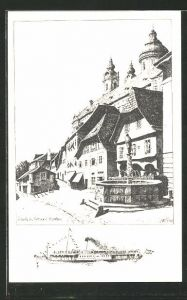 Künstler-AK Ulf Seidl: Melk a. d. Donau, Platz mit Brunnen, Dampfer