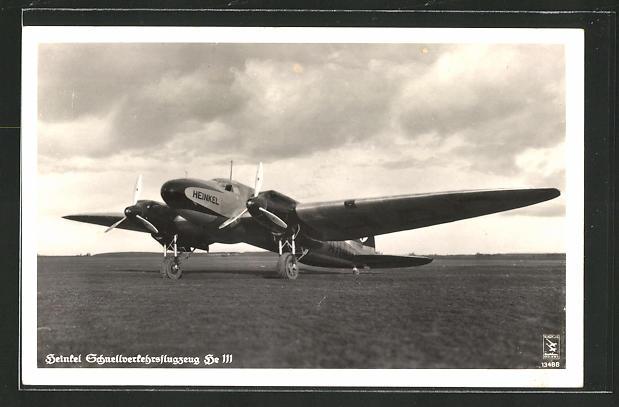 AK Heinkel Schnellverkehrsflugzeug He 111