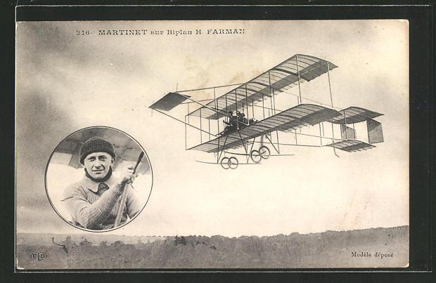 AK Martinet sur Biplan H. Farman, frühes Flugzeug