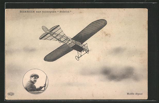 AK Barrier sur Monoplan Blériot, frühes Flugzeug