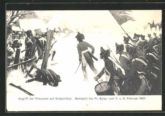 AK Kutschitten, Schlacht bei Pr. Eylau im Februar 1807, Angriff der Preussen auf den Ort