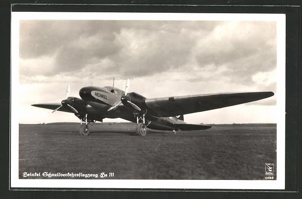 AK Heinkel Schnellverkehrsflugzeug He 111 auf dem Rollfeld