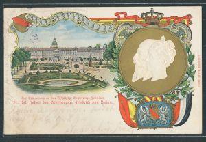 Präge-AK 50 jähriges Regierungs-Jubiläum des Grossherzogs Friedrich von Baden, Schloss