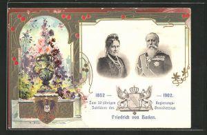 Präge-AK 50 jähriges Regierungs-Jubiläum des Grossherzogs Friedrich von Baden 1902, Grossherzogspaar