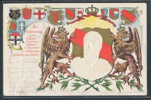 Präge-AK 50 jähriges Regierungs-Jubiläum des Grossherzogs Friedrich von Baden, Wappen